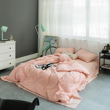 水洗棉基础款多规格四件套 小小号床单款(0.9-1.2米床) 纯粉