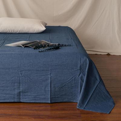 全棉色织精梳水洗棉 单品床单床笠 120cmx200cm 床笠 牛仔蓝