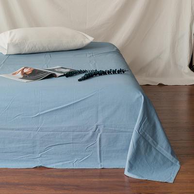 全棉色织精梳水洗棉 单品床单床笠 150cmx200cm 床笠 浅蓝