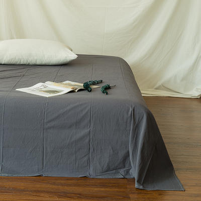 全棉色织精梳水洗棉 单品床单床笠 120cmx200cm 床笠 复古灰