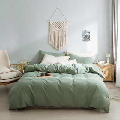 水洗棉基础款经典花型翻拍2 床笠款1.2m(4英尺)床 纯绿