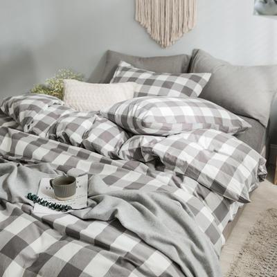 水洗棉基础款经典花型翻拍2 床笠款1.2m(4英尺)床 灰中格