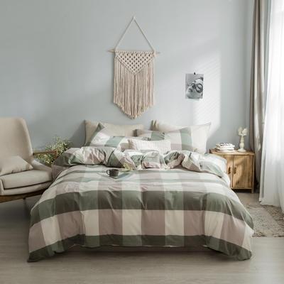 水洗棉基础款经典花型翻拍2 床笠款1.2m(4英尺)床 绿大格
