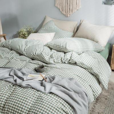 水洗棉基础款经典花型翻拍2 床笠款1.2m(4英尺)床 绿小格