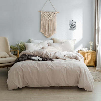 水洗棉基础款经典花型翻拍2 床笠款1.2m(4英尺)床 米色
