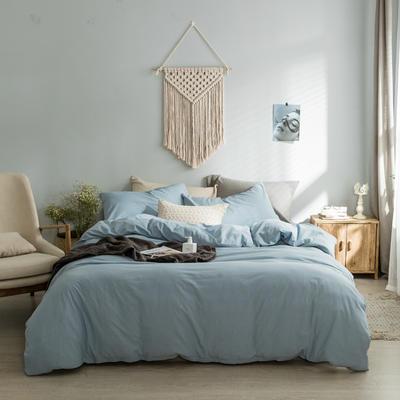 水洗棉基础款经典花型翻拍2 床笠款1.2m(4英尺)床 浅蓝