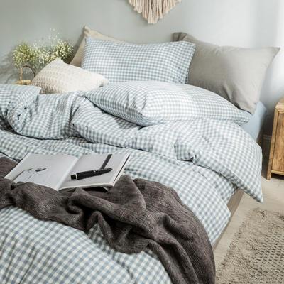 水洗棉基础款经典花型翻拍2 床笠款1.2m(4英尺)床 浅蓝小格
