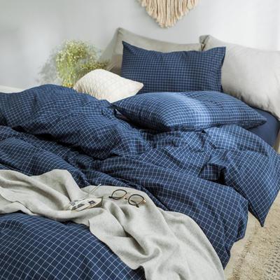 水洗棉基础款经典花型翻拍2 床笠款1.2m(4英尺)床 小蓝格