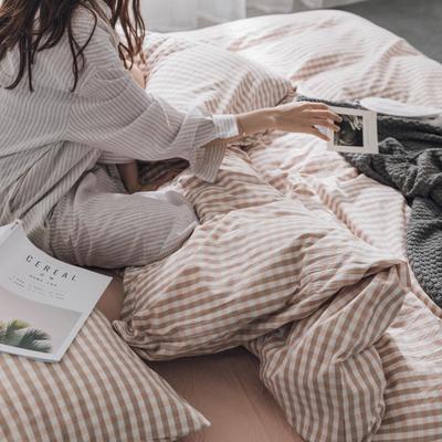 水洗棉基础款经典花型翻拍(模特一) 1.2m(4英尺)床 粉小格