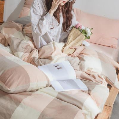 水洗棉基础款经典花型翻拍(模特一) 1.2m(4英尺)床 粉玉大格
