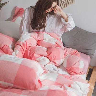 水洗棉基础款经典花型翻拍(模特一) 1.2m(4英尺)床 红大格