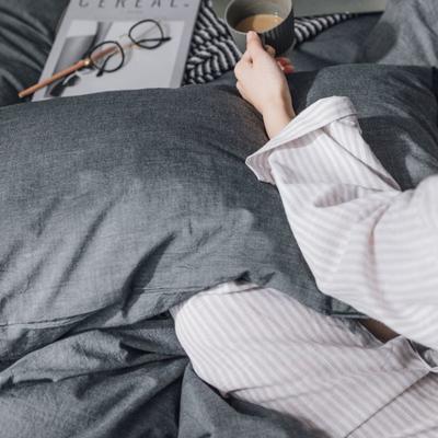 水洗棉基础款经典花型翻拍(模特一) 1.2m(4英尺)床 深灰