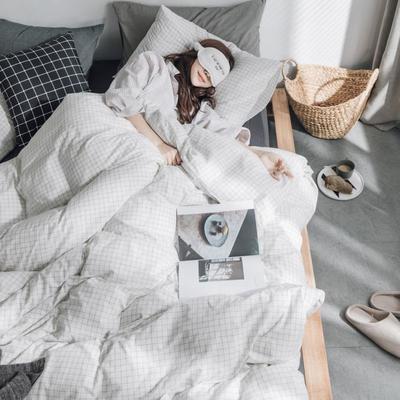 水洗棉基础款经典花型翻拍(模特一) 1.2m(4英尺)床 小白格