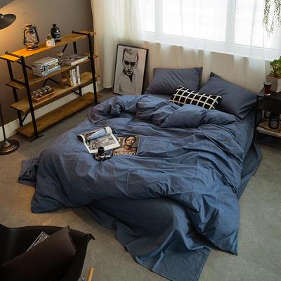 水洗棉基础款多规格四件套 中号床单款(1.5m-1.8m床) 牛仔蓝