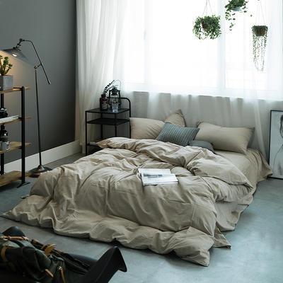 水洗棉基础款多规格四件套 中号床单款(1.5m-1.8m床) 米色