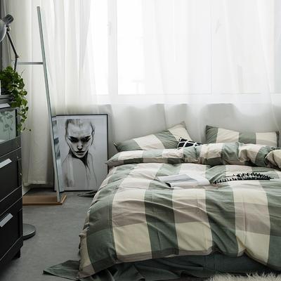 水洗棉基础款多规格四件套 中号床单款(1.5m-1.8m床) 绿大格