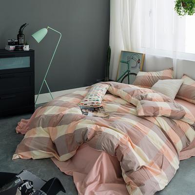 水洗棉基础款多规格四件套 中号床单款(1.5m-1.8m床) 粉大格