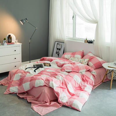 水洗棉基础款多规格四件套 中号床单款(1.5m-1.8m床) 红大格