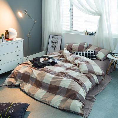 水洗棉基础款多规格四件套 中号床单款(1.5m-1.8m床) 咖大格