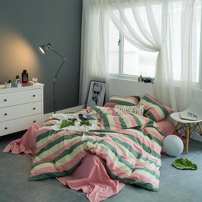 水洗棉基础款多规格四件套 小小号床笠款(1.2米床) 红绿宽条