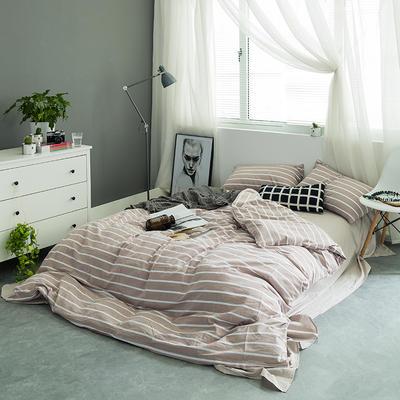 水洗棉基础款多规格四件套 小小号床笠款(1.2米床) 咖宽条