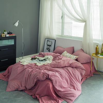 水洗棉基础款多规格四件套 中号床单款(1.5m-1.8m床) 红细条