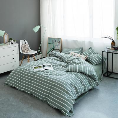 水洗棉基础款多规格四件套 小小号床笠款(1.2米床) 绿宽条