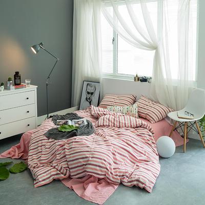 水洗棉基础款多规格四件套 小小号床笠款(1.2米床) 条纹红