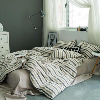 水洗棉基础款多规格四件套 小小号床笠款(1.2米床) 条纹咖