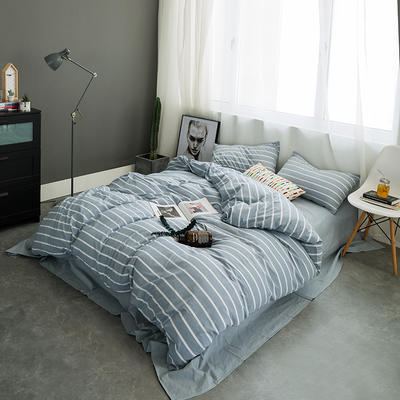 水洗棉基础款多规格四件套 中号床单款(1.5m-1.8m床) 浅蓝宽条
