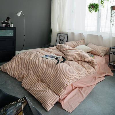 水洗棉基础款多规格四件套 小小号床笠款(1.2米床) 粉小格