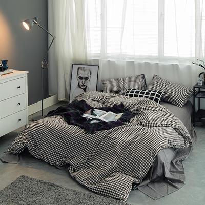 水洗棉基础款多规格四件套 小小号床单款(0.9-1.2米床) 黑咖小格
