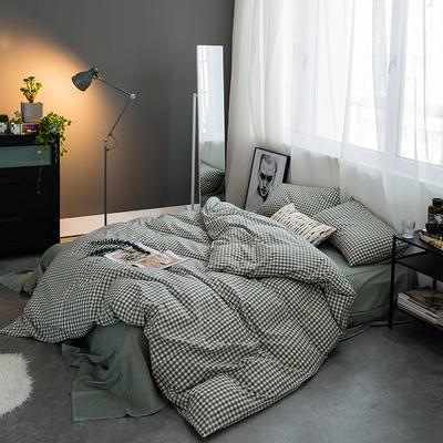水洗棉基础款多规格四件套 小小号床笠款(1.2米床) 绿小格