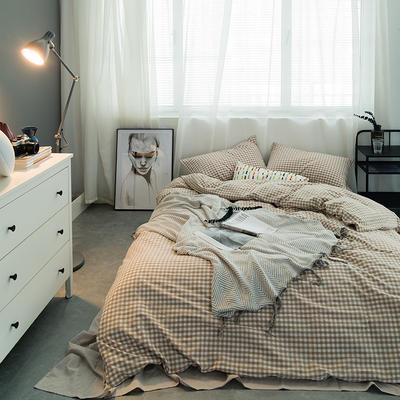 水洗棉基础款多规格四件套 小小号床单款(0.9-1.2米床) 米小格