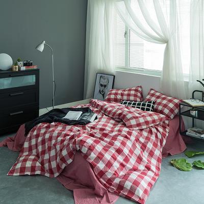 水洗棉基础款多规格四件套 小小号床单款(0.9-1.2米床) 红中格