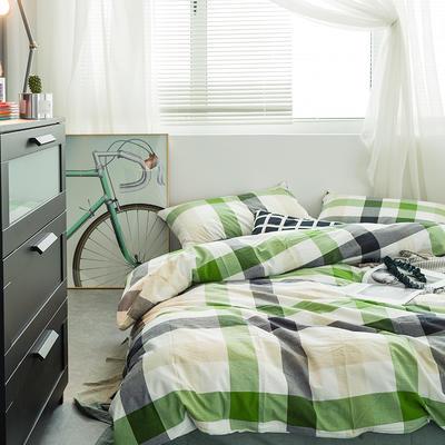 水洗棉基础款多规格四件套 小小号床笠款(1.2米床) 绿中格