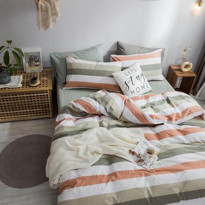 2018新款-秋冬水洗棉四件套 床单款1.2m(4英尺)床 橄榄条