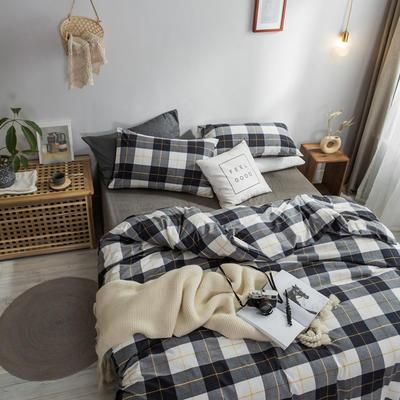 2018新款-秋冬水洗棉四件套 床单款1.2m(4英尺)床 灰条格