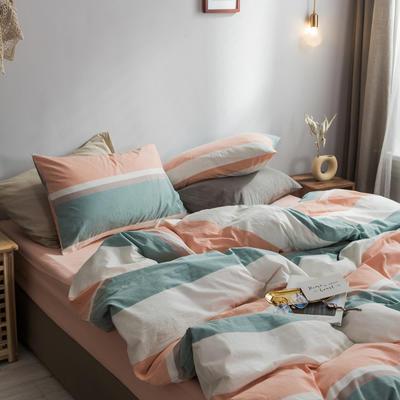 2018新款-秋冬水洗棉四件套 床单款1.2m(4英尺)床 橘蓝条