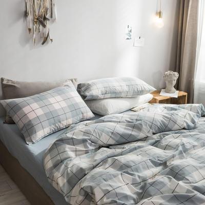 2018新款-秋冬水洗棉四件套 床单款1.2m(4英尺)床 蓝灰条格