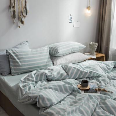 2018新款-秋冬水洗棉四件套 床笠款1.2m(4英尺)床 蓝竖条