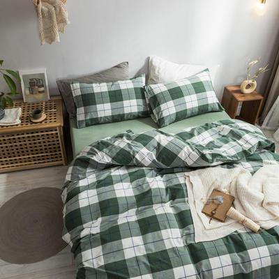 2018新款-秋冬水洗棉四件套 床笠款1.2m(4英尺)床 绿条格