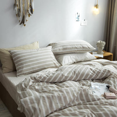 2018新款-秋冬水洗棉四件套 床笠款1.2m(4英尺)床 米竖条
