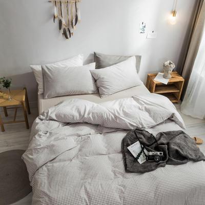 2018新款-秋冬水洗棉四件套 床笠款1.2m(4英尺)床 米小小格