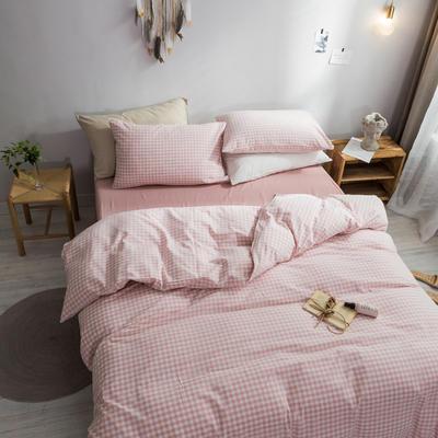 2018新款-秋冬水洗棉四件套 床笠款1.2m(4英尺)床 蜜粉格