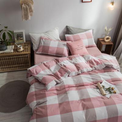 2018新款-秋冬水洗棉四件套 床单款1.2m(4英尺)床 浅红大格