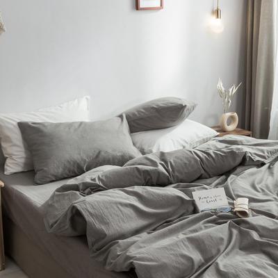 2018新款-秋冬水洗棉四件套 床笠款1.2m(4英尺)床 浅灰