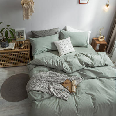 2018新款-秋冬水洗棉四件套 床笠款1.2m(4英尺)床 水绿