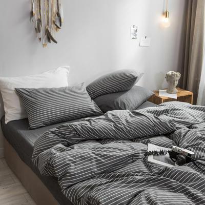 2018新款-秋冬水洗棉四件套 床单款1.2m(4英尺)床 烟灰细条