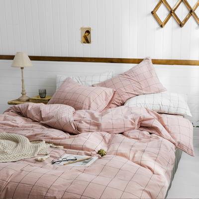 2019新款水洗棉1.0-1.5系列 1.5m(5英尺)床 粉灰中格